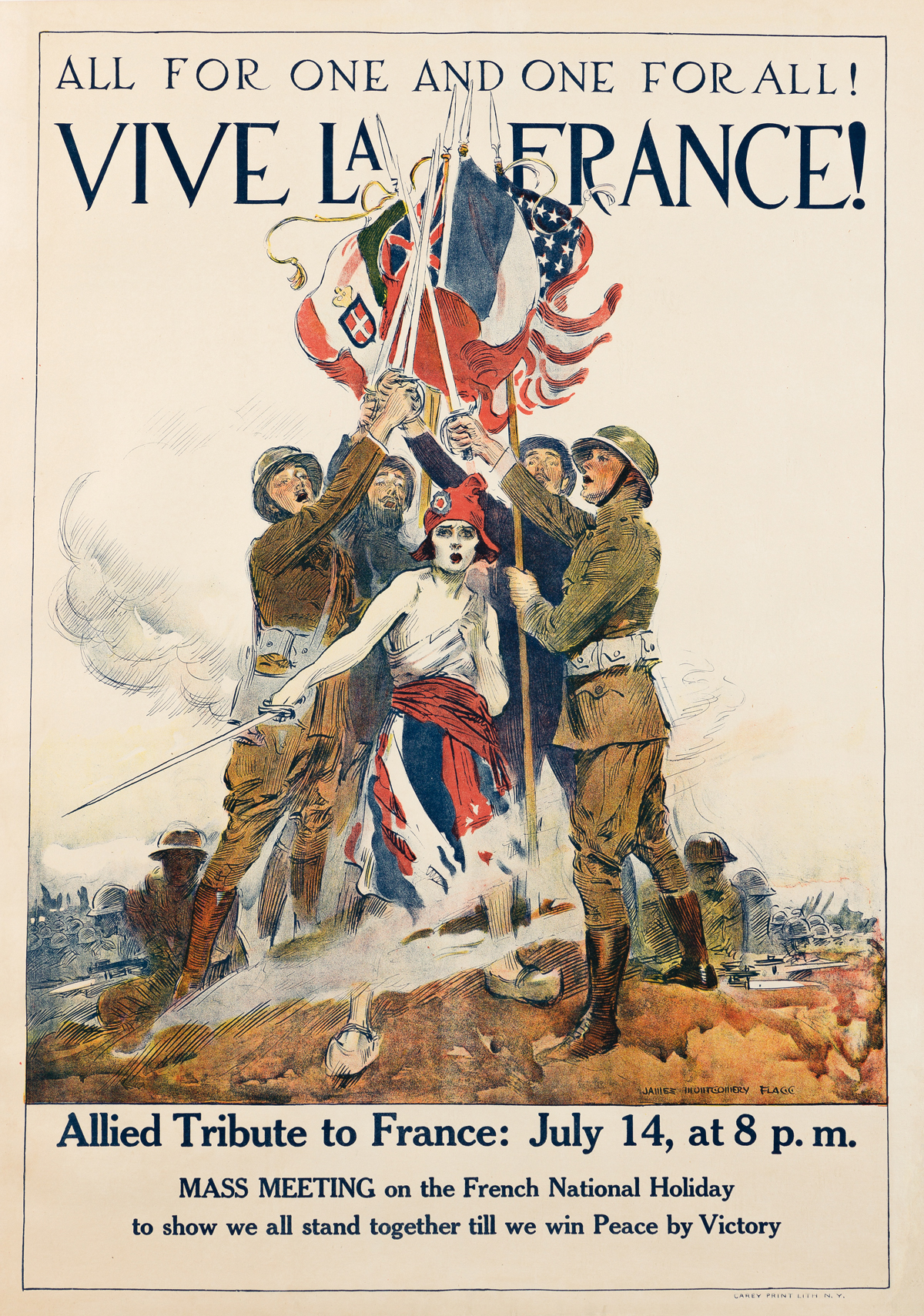 JAMES MONTGOMERY FLAGG (1870-1960).  ALL FOR ONE AND ONE FOR ALL! / VIVE LA FRANCE! 1918. 39¾x28¼ inches, 101x71¾ cm. Carey Print Lith.