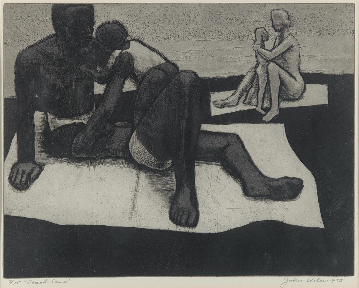JOHN WILSON (1912 - 2015) Beach Scene.