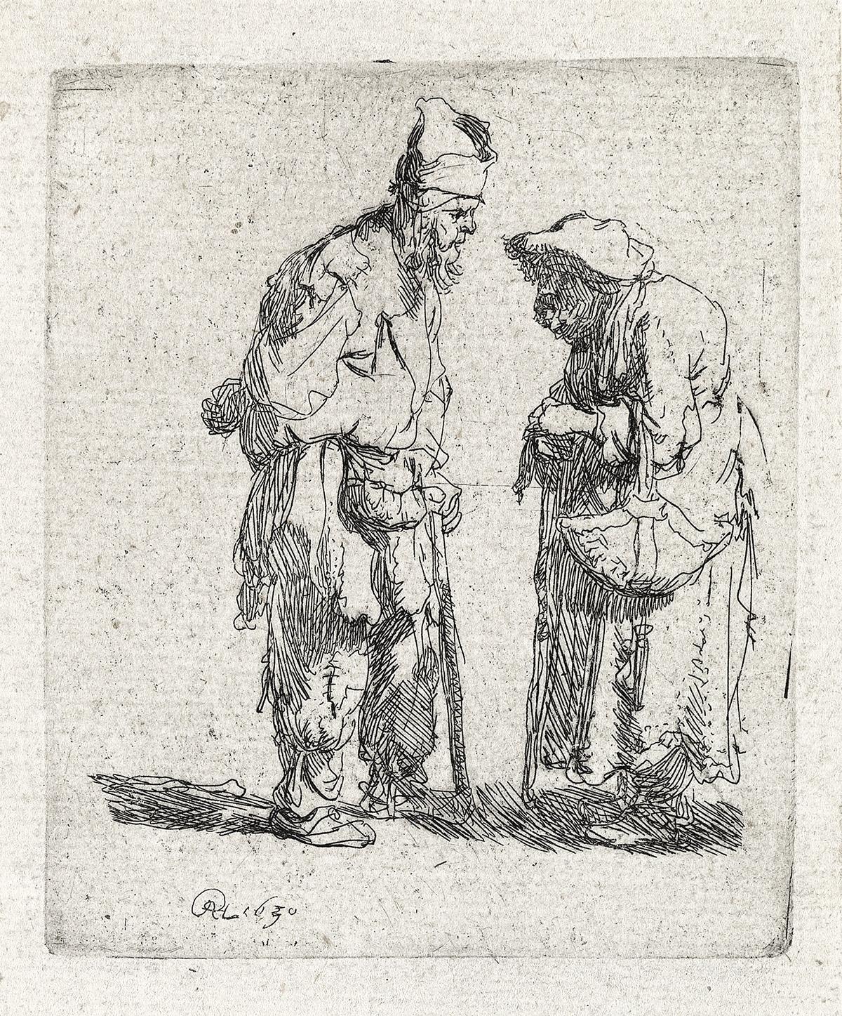 REMBRANDT-VAN-RIJN-Beggar-Man-and-a-Beggar-Woman-Conversing