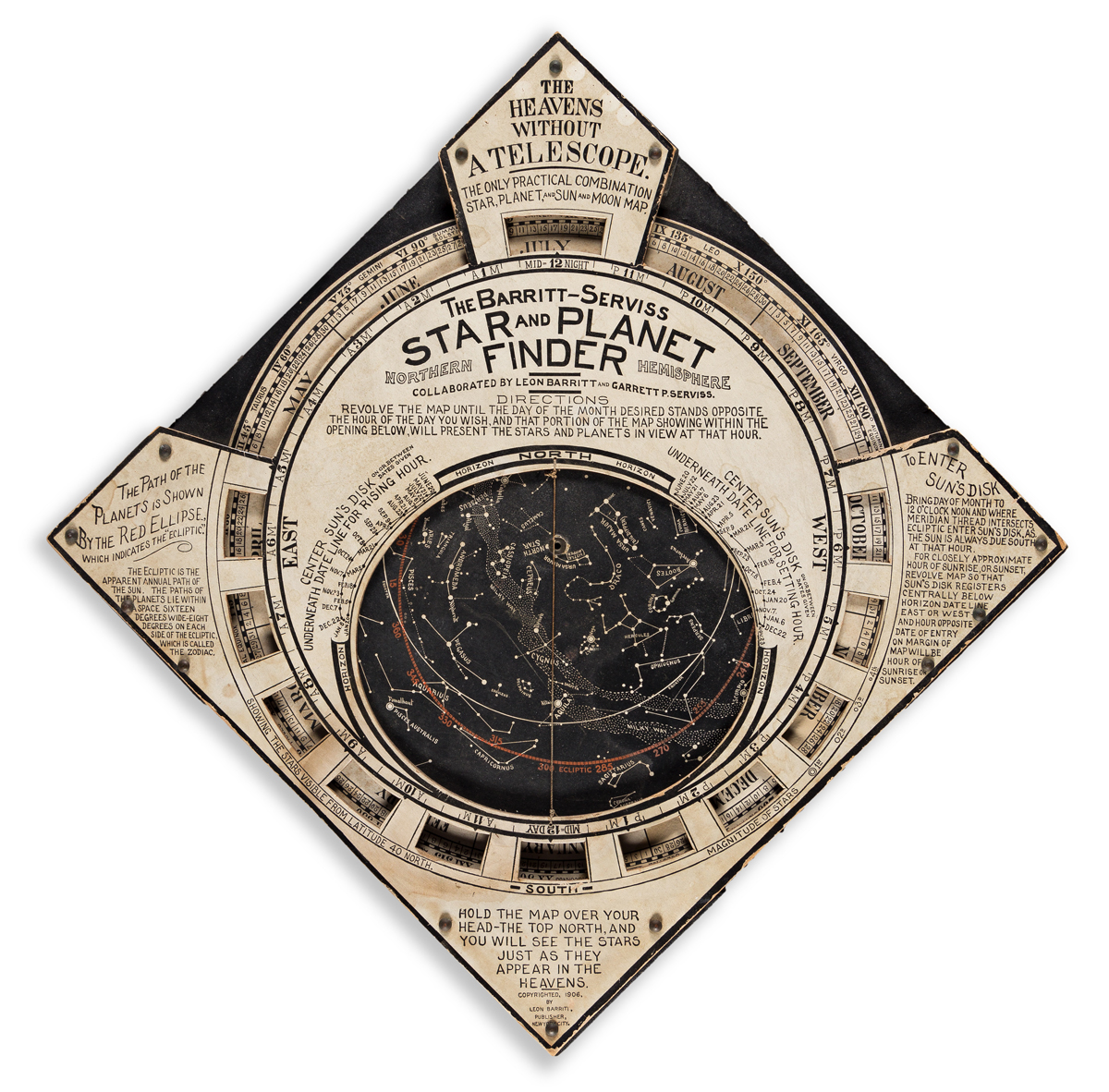 (INSTRUMENTS -- CELESTIAL.) Leon Barritt; and Garrett Serviss. The Barritt-Serviss Star and Planet Finder - Northern Hemisphere.