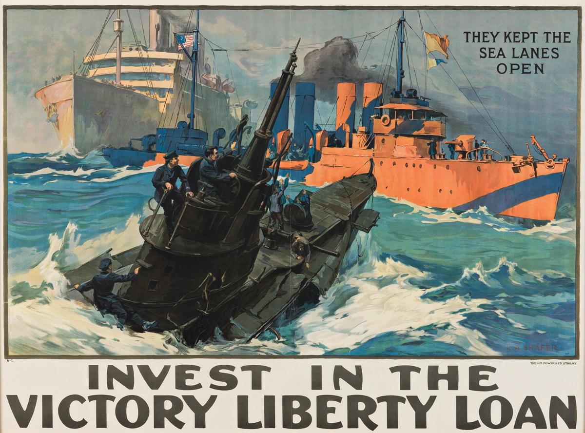 LEON ALARIC SHAFER (1866-1940).  INVEST IN THE VICTORY LIBERTY LOAN. 1919. 28½x39 inches, 72½x99 cm. The W.F. Powers Co. Litho., New Yo