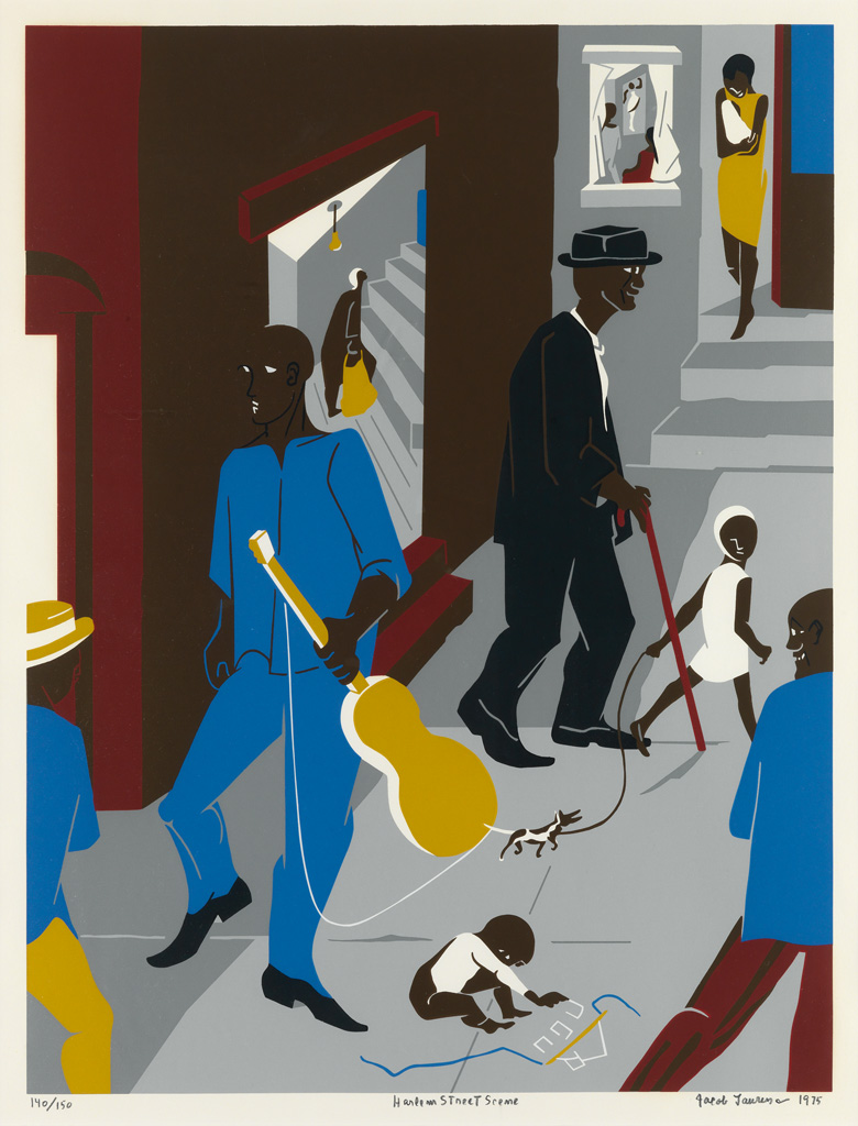 JACOB LAWRENCE (1917 - 2000) People in Other Rooms (Harlem Street Scene).