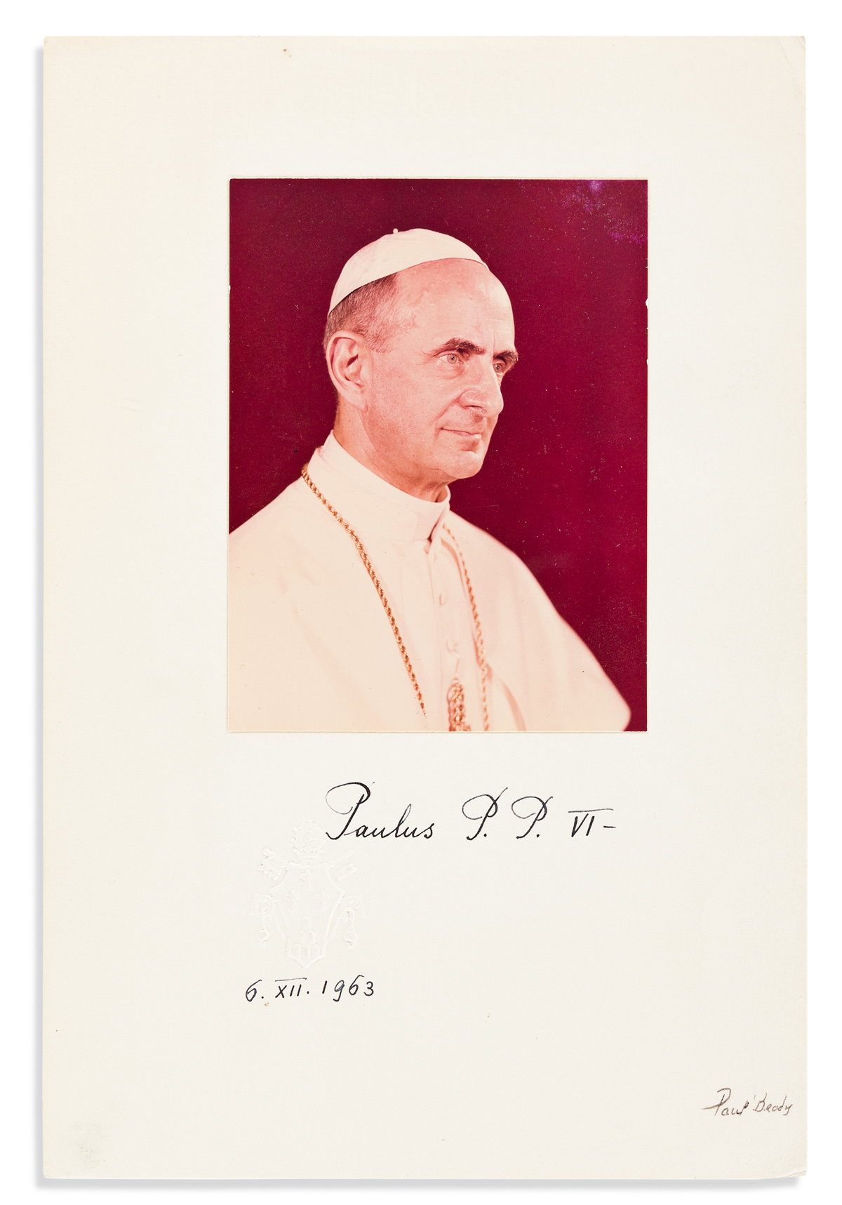 PAUL VI; POPE. Photograph dated and Signed, Paulus P.P. VI,