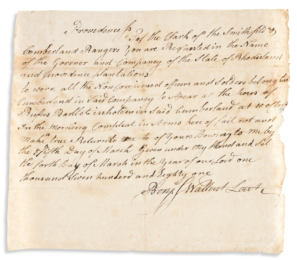 (AMERICAN REVOLUTION--1781.) The Smithfield and Cumberland Rangers militia company is summoned for muster.