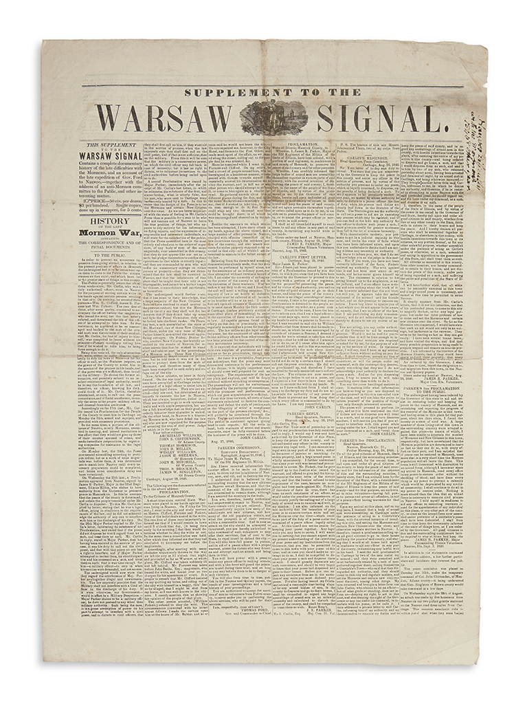 (MORMONS.) Supplement to the Warsaw Signal.