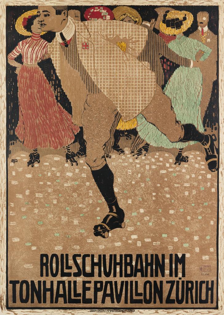 BURKHARD-MANGOLD-(1873-1950)-ROLLSCHUHBAHN-IM-TONHALLE-PAVILLON-1910-39x28-inches-100x71-cm-JE-Wolfensberger-Zurich