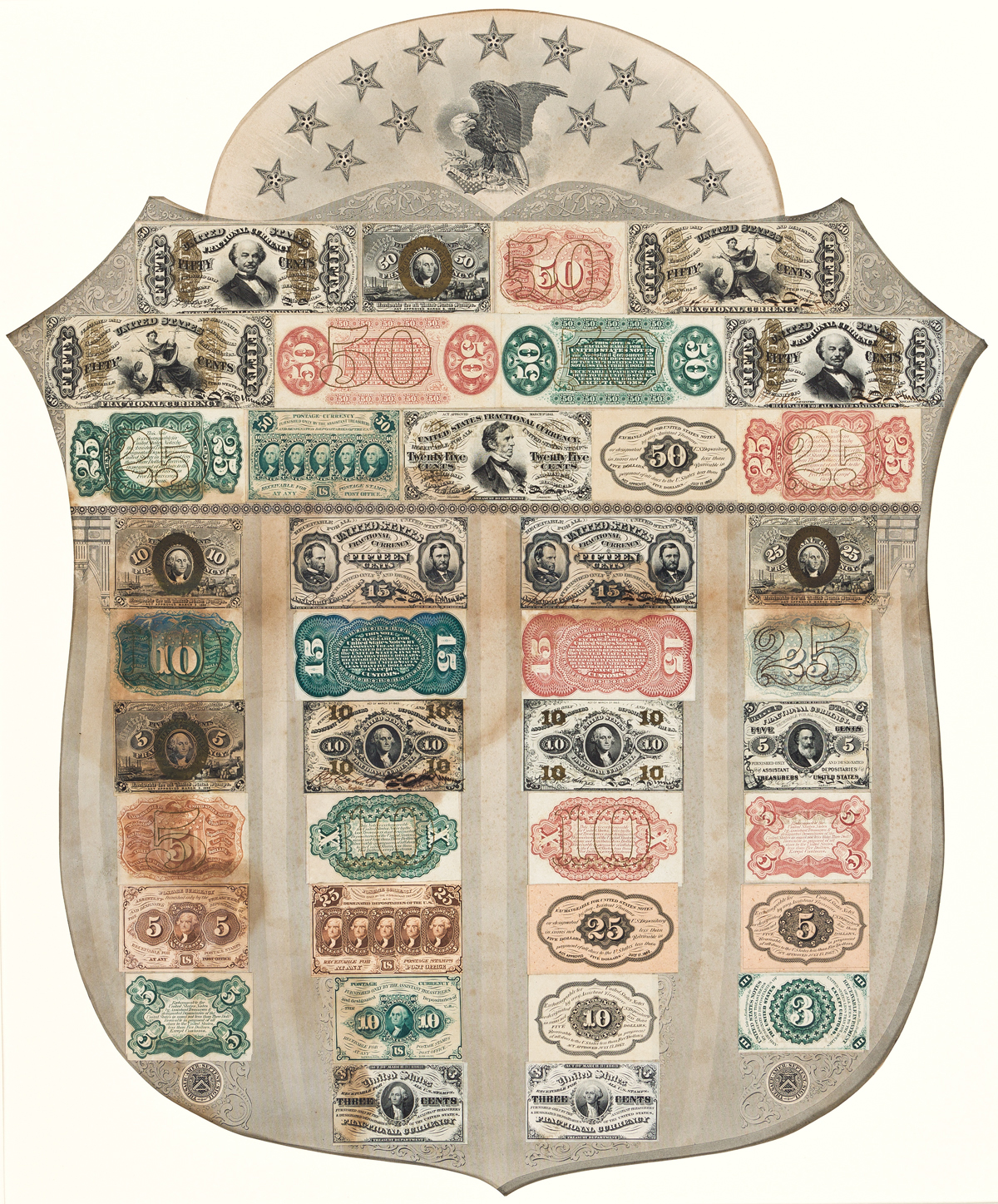 (CURRENCY.) Fractional currency shield with mounted specimen notes.