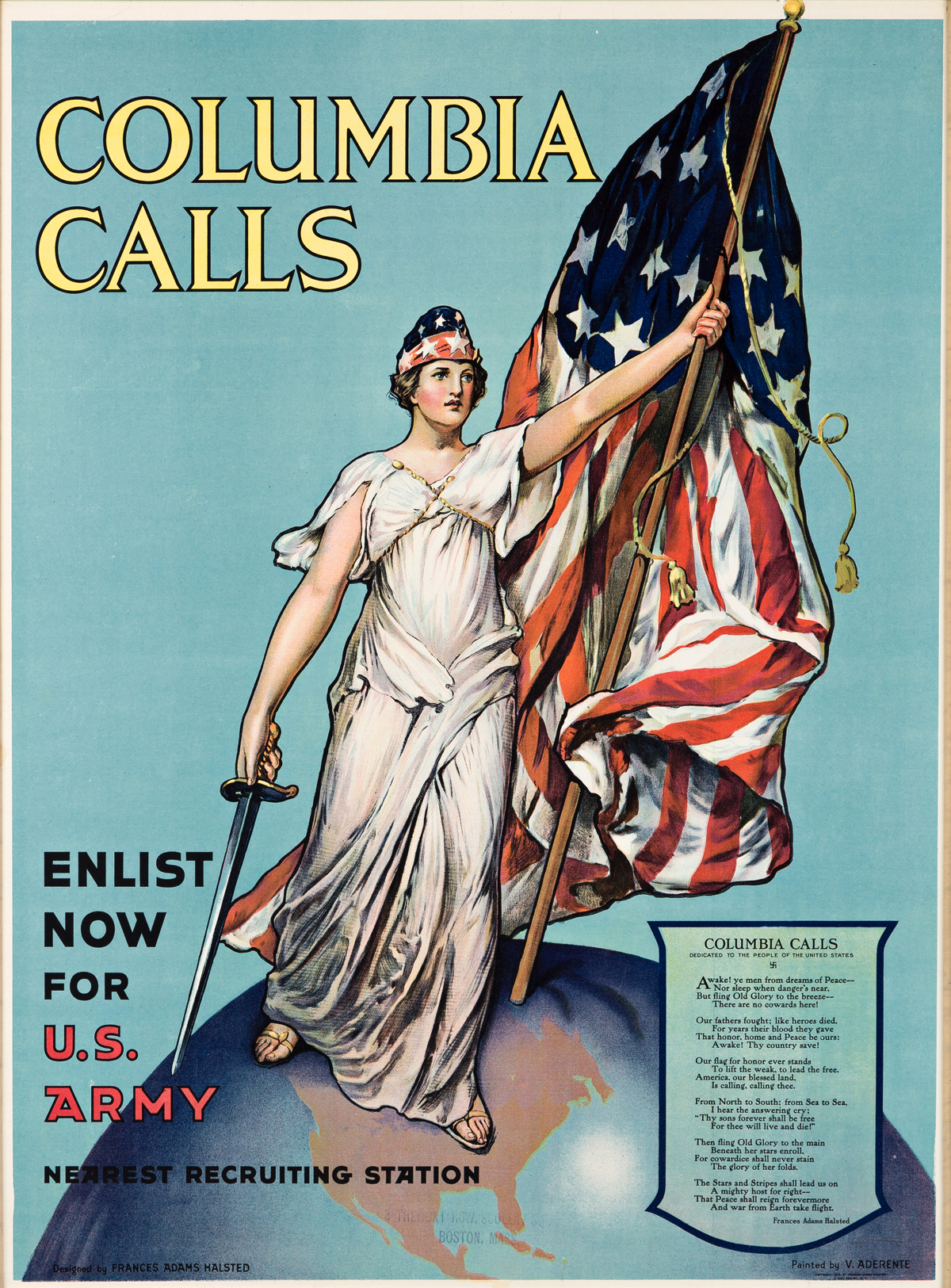FRANCES ADAMS HALSTED (1873-?) & VINCENT ADERENTE (1880-1941).  COLUMBIA CALLS / ENLIST NOW. 1916. 39¼x29½ inches, 99¾x75 cm.