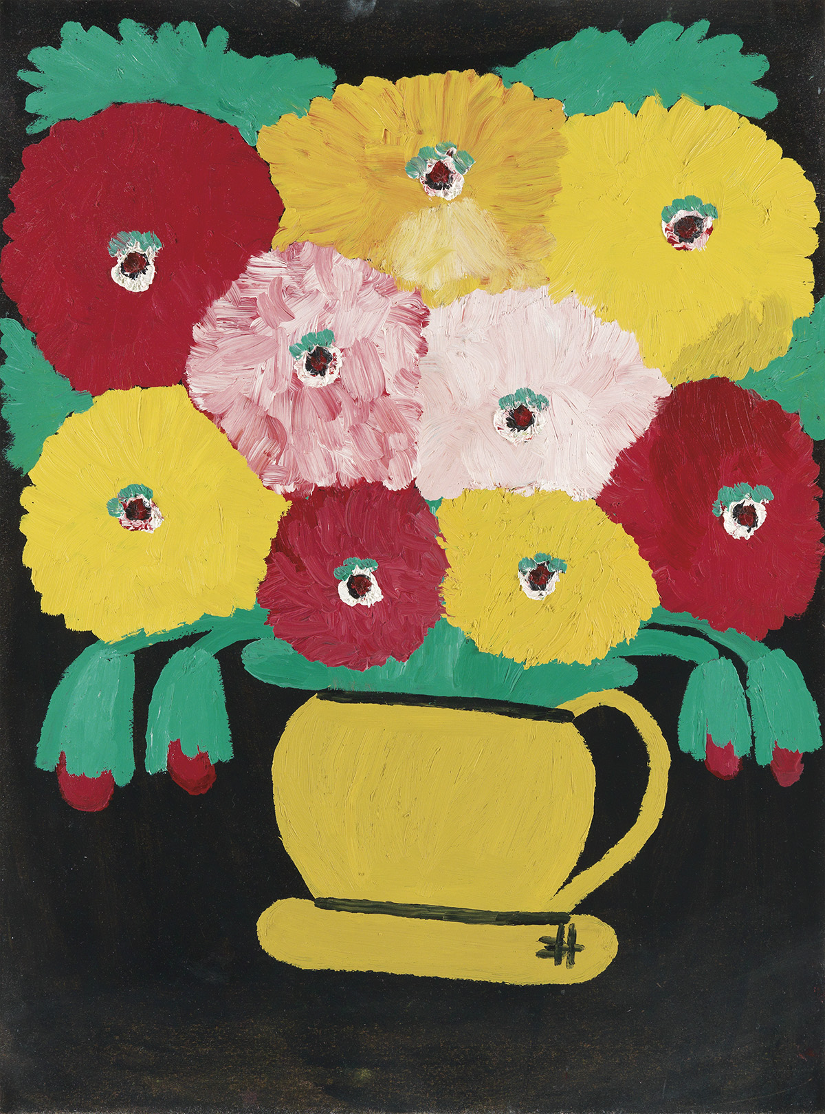 CLEMENTINE-HUNTER-(1886---1988)-Untitled-(Zinnias-in-a-Yellow-Pitcher)