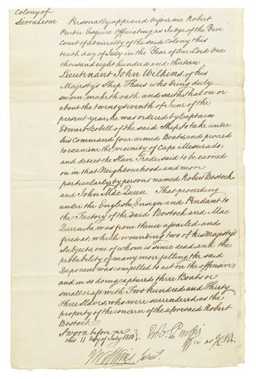 (SLAVERY AND ABOLITION.) AFRICAN SLAVE TRADE. Manuscript Deposition of two British officers regarding the capture of 233 African slaves