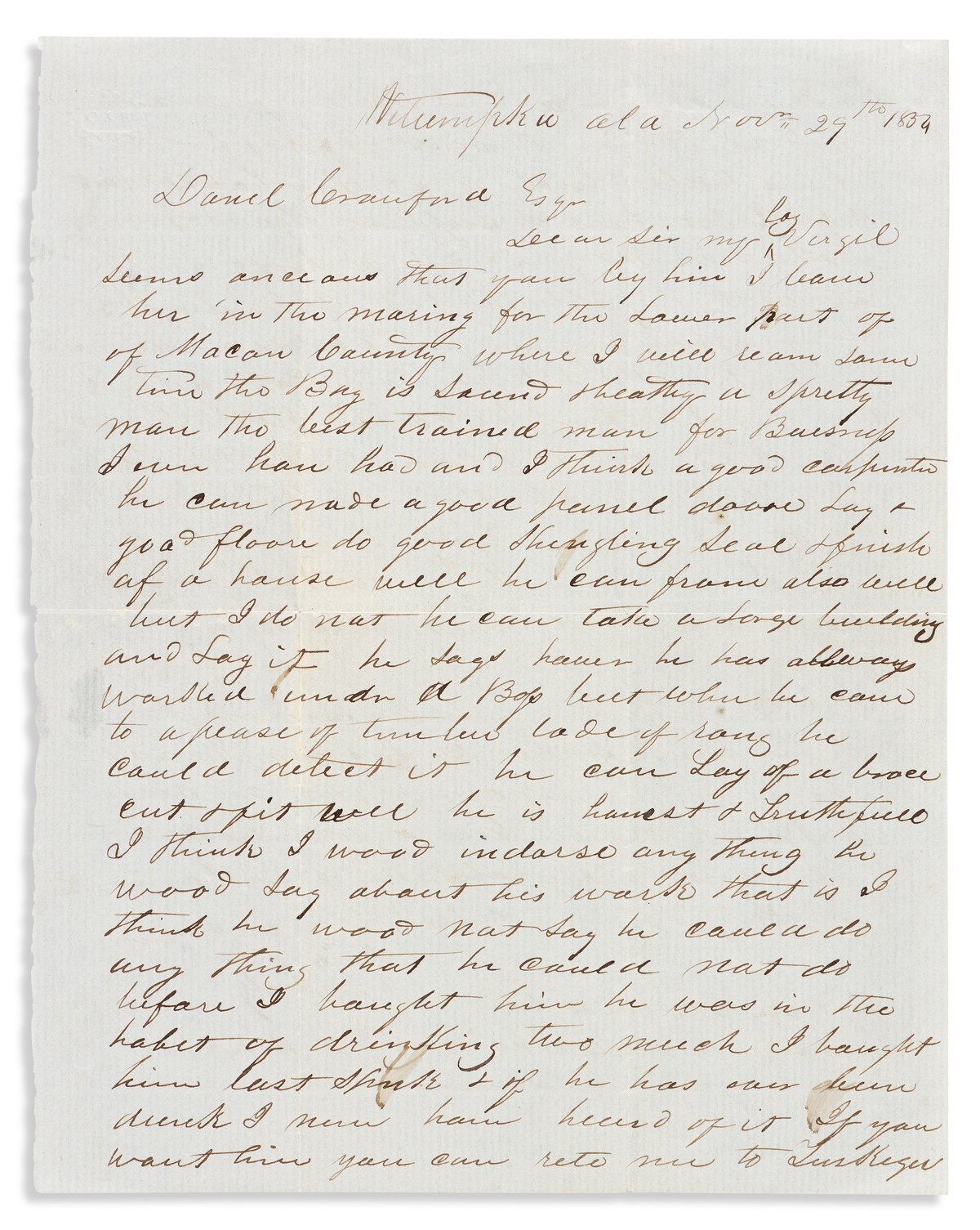 (SLAVERY AND ABOLITION.) James A. Barr. Letter discussing an enslaved 34-year-old boy who seems anxious that you buy him.