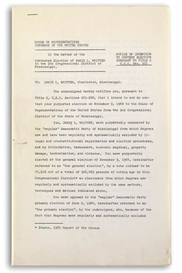 """(CIVIL RIGHTS.) HAMER, FANNIE LOU--MISSISSIPPI FREEDOM DEMOCRATIC PARTY. Small archive including: """"""""House of representatives, Congress"""