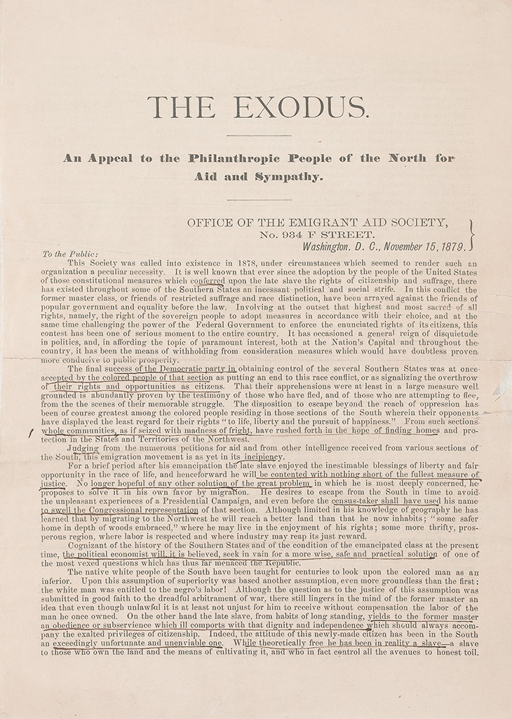 (SLAVERY AND ABOLITION--RECONSTRUCTION.) CROMWELL, JOHN W. The Exodus. An Appeal to the Philanthropic People of the North for Aid and S