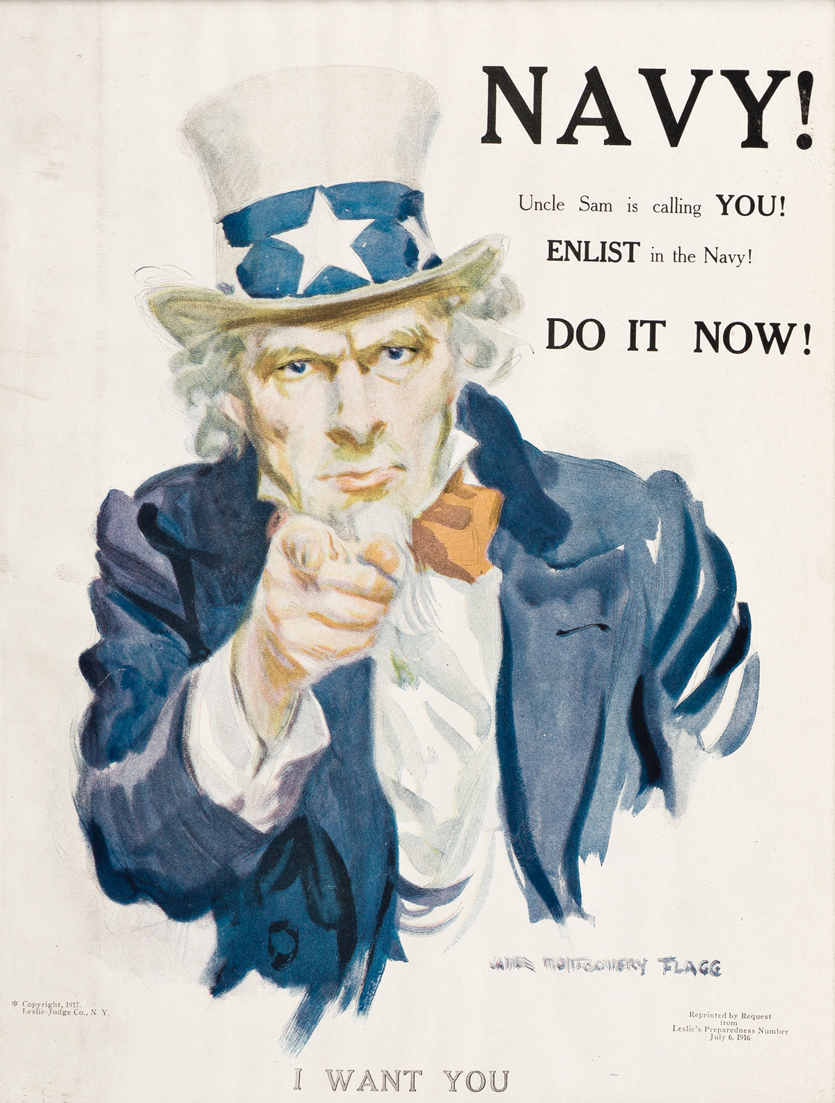 JAMES MONTGOMERY FLAGG (1870-1960).  NAVY! UNCLE SAM IS CALLING YOU! 1917. 13½x10 inches, 34¼x25½ cm. Leslie-Judge Co., New York.