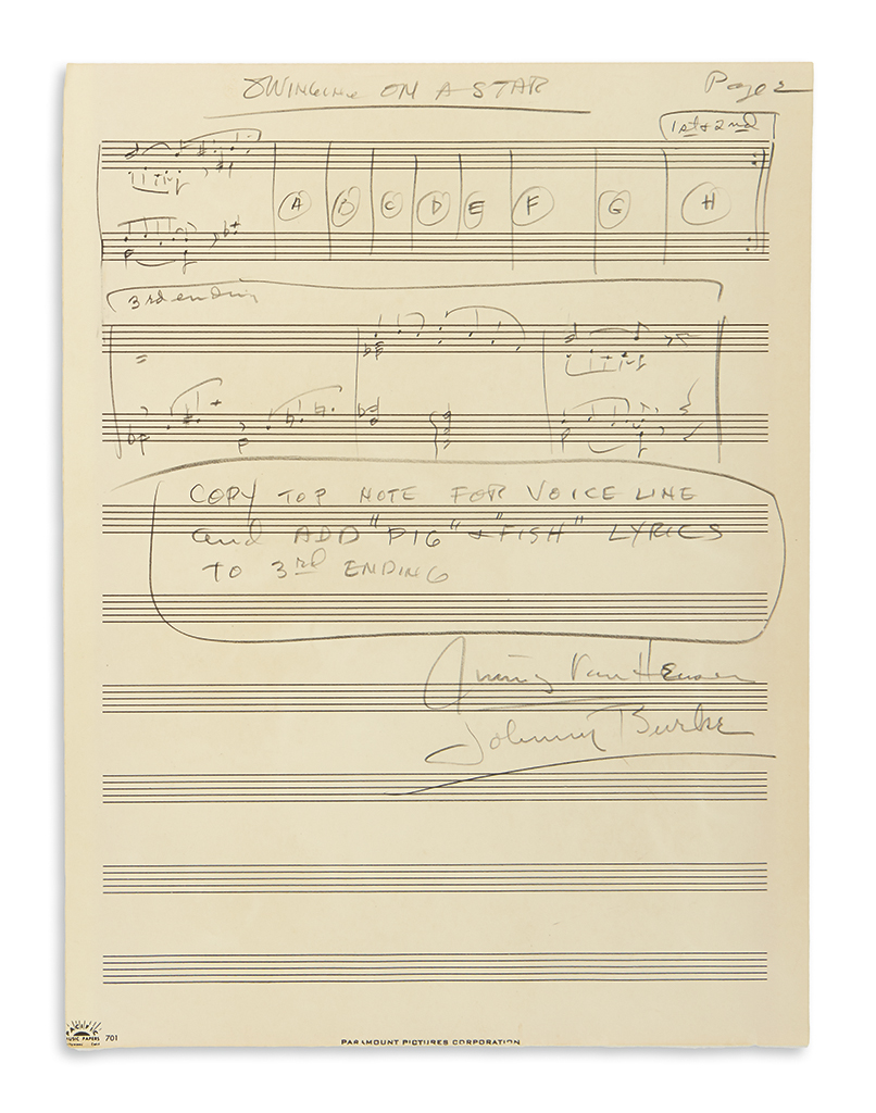 VAN HEUSEN, JIMMY. Autograph Musical Manuscript Signed, twice, working draft for the vocal score of Swinging on a Star, in pencil,