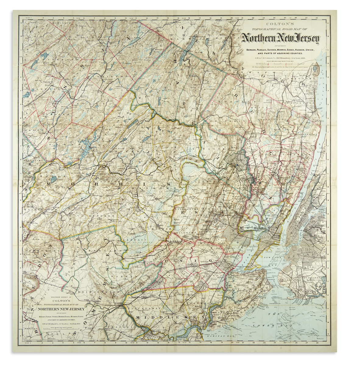 COLTON, G.W. & C.B. Coltons Topographical Road Map of Northern New Jersey.