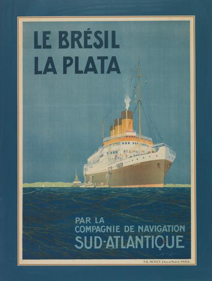 "(COMPAGNIE de NAVIGATION SUD-ATLANTIQUE.) ""Lutetia."" Le Brésil / La Plata / par la Compagnie de Navigation / Sud-Atlantique."