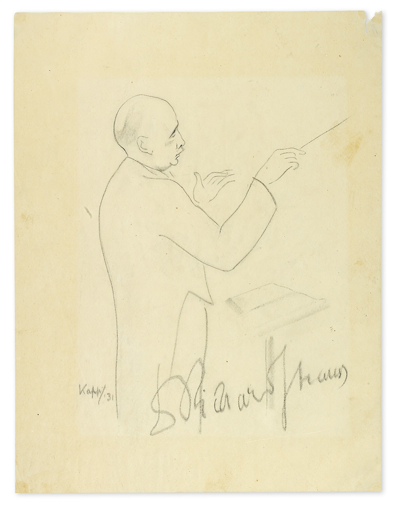 STRAUSS, RICHARD. Signature (DrRichardStrauss), on a graphite drawing by Edmond Kapp, ½-length portrait of Strauss while conducting.