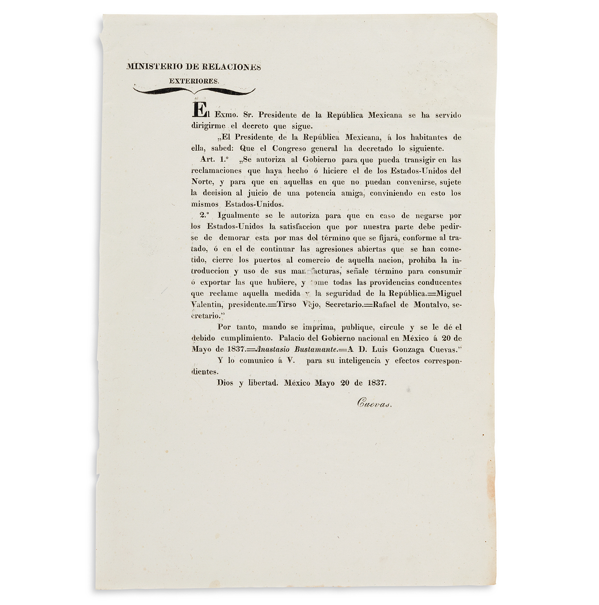 (TEXAS.) Anastasio Bustamante. Mexican decree on the reparations demanded by the United States.