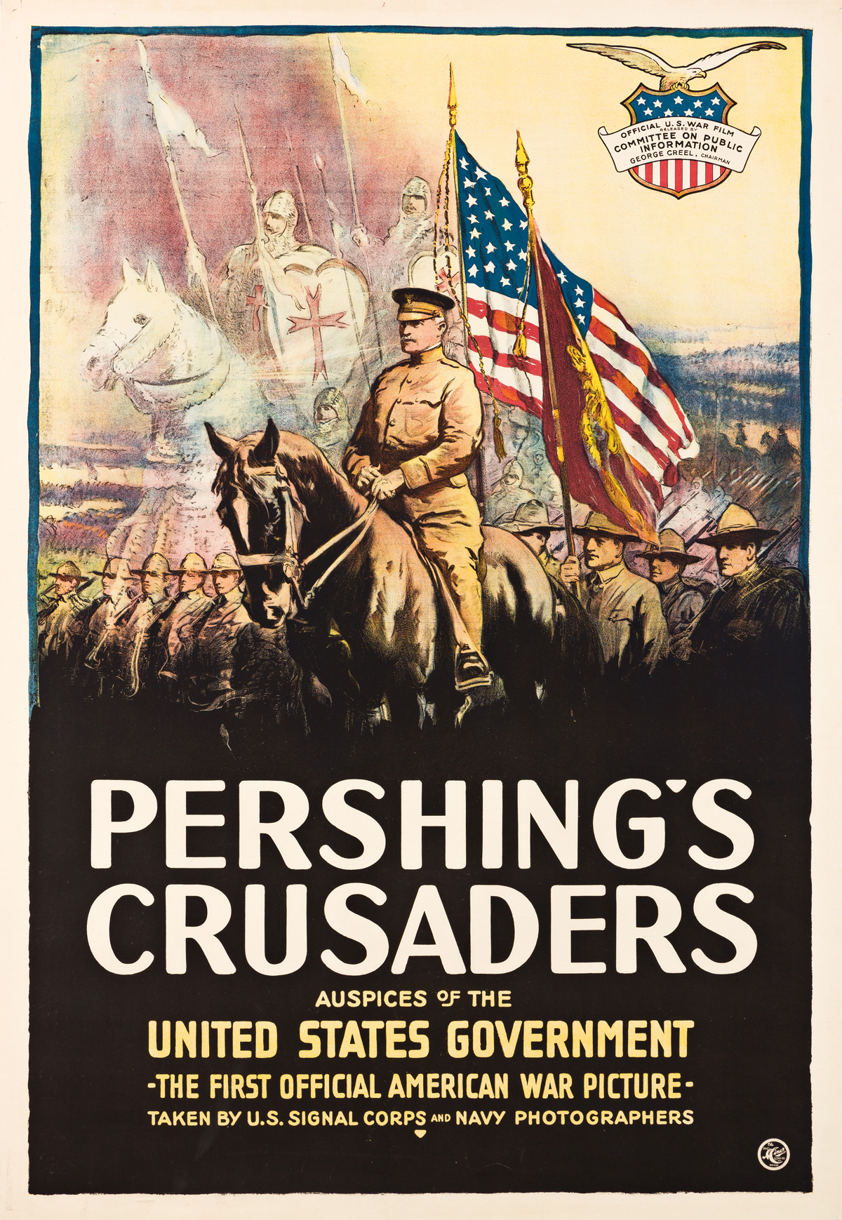 DESIGNER UNKNOWN.  PERSHINGS CRUSADERS. 1918. 41¼x28¼ inches, 104¾x71¾ cm. The H.C. Miner Litho. Co., New York.