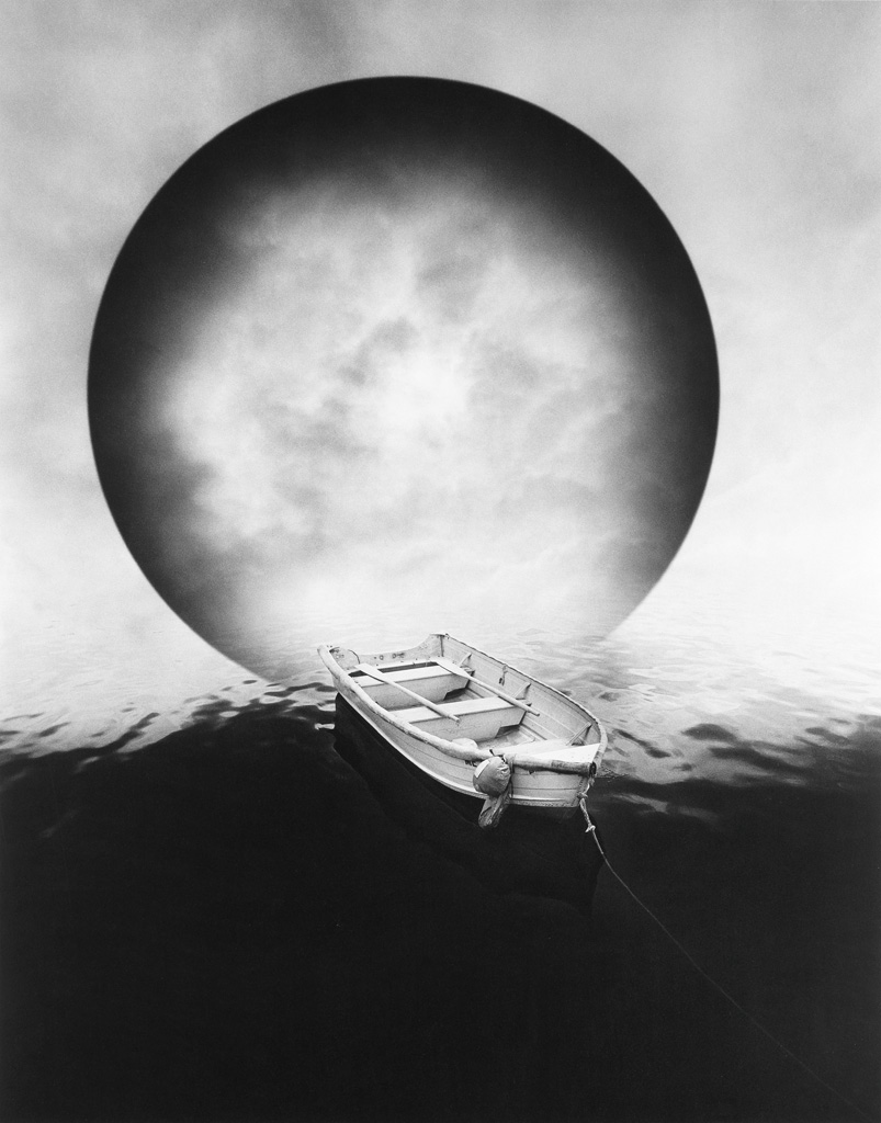 JERRY UELSMANN (1934- ) Untitled (rowboat and moon).
