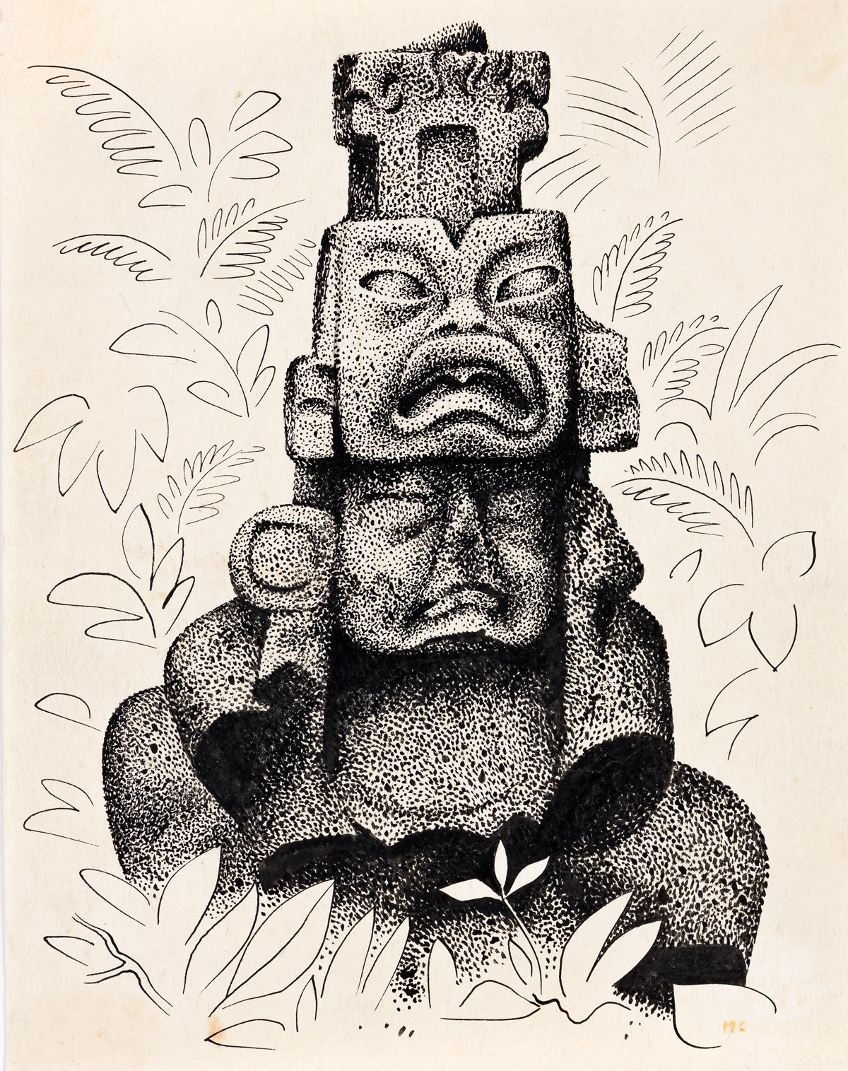 MIGUEL COVARRUBIAS (1904-1957) Idolo Maya.