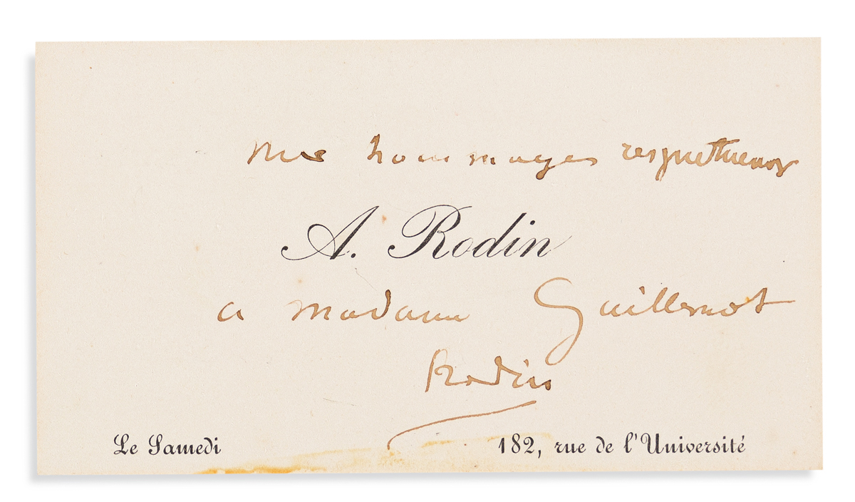 RODIN, AUGUSTE. Printed visiting card Signed and Inscribed, My respects / to Madam Guillemot / Rodin, in French.