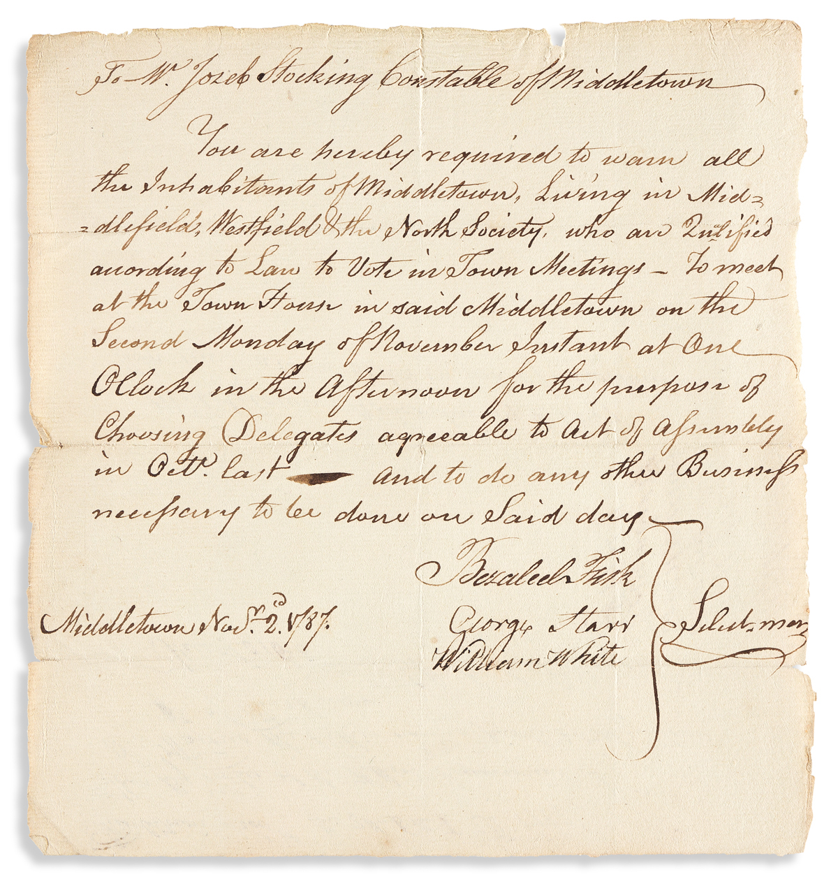(CONSTITUTION.) Order for voting on delegates to Connecticuts convention for ratifying the Constitution.