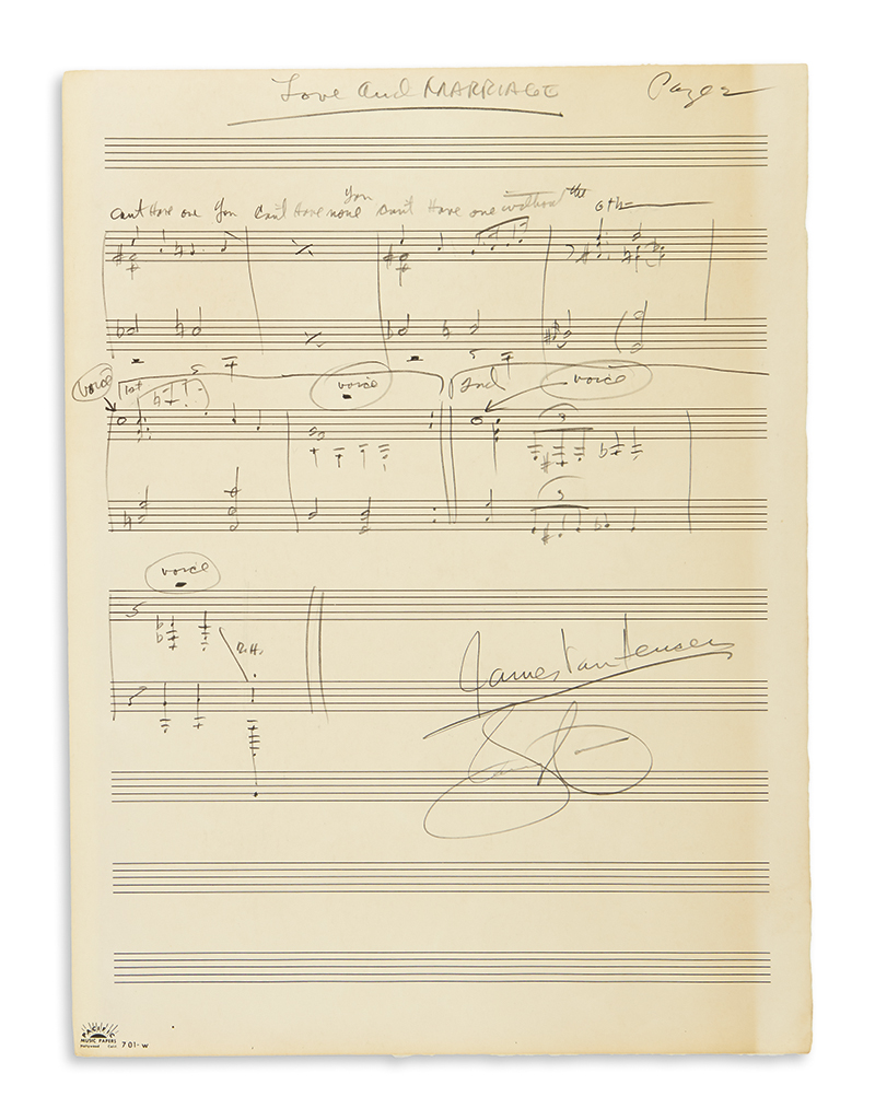 VAN HEUSEN, JIMMY. Autograph Musical Manuscript Signed, twice, working draft for the vocal score of Love and Marriage, in pencil,