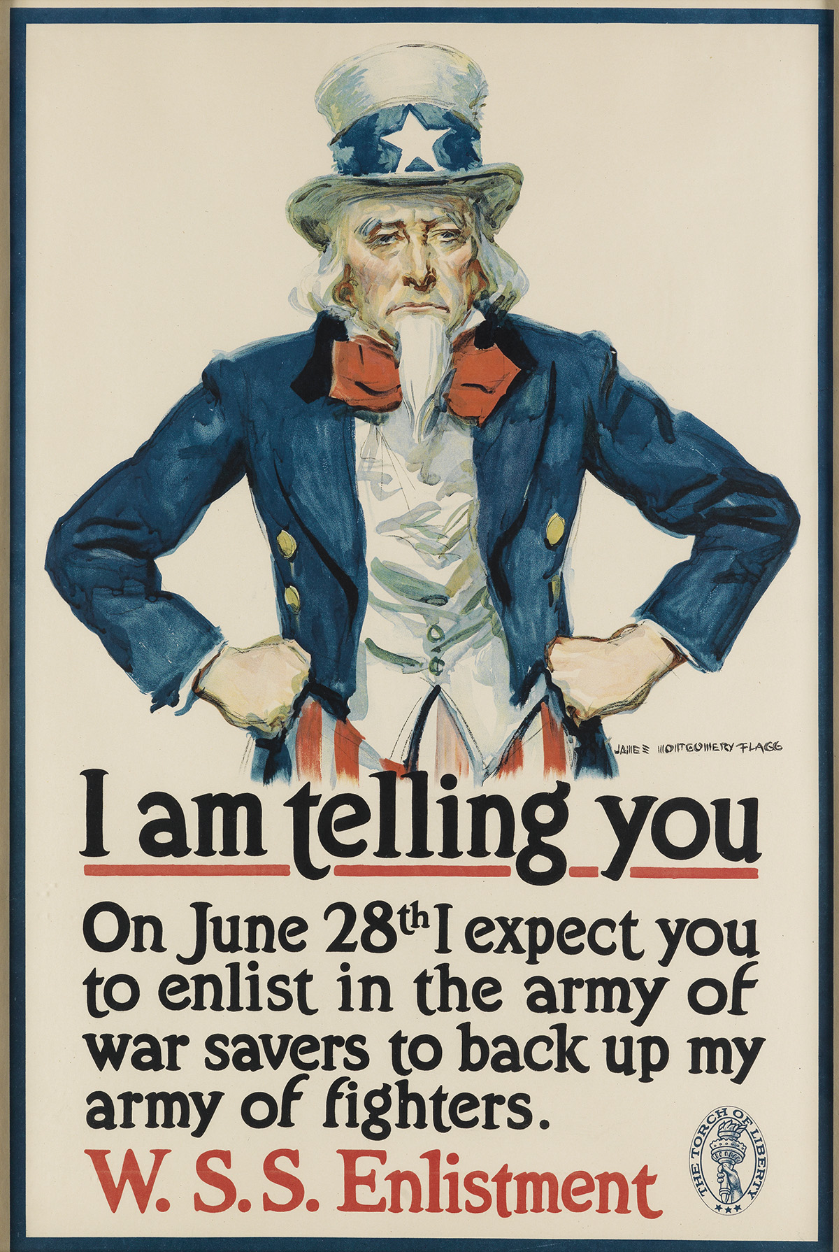 JAMES MONTGOMERY FLAGG (1870-1960). I AM TELLING YOU. 1918. 29x19 inches, 75x50 cm. [American Lithograph Co., New York.]