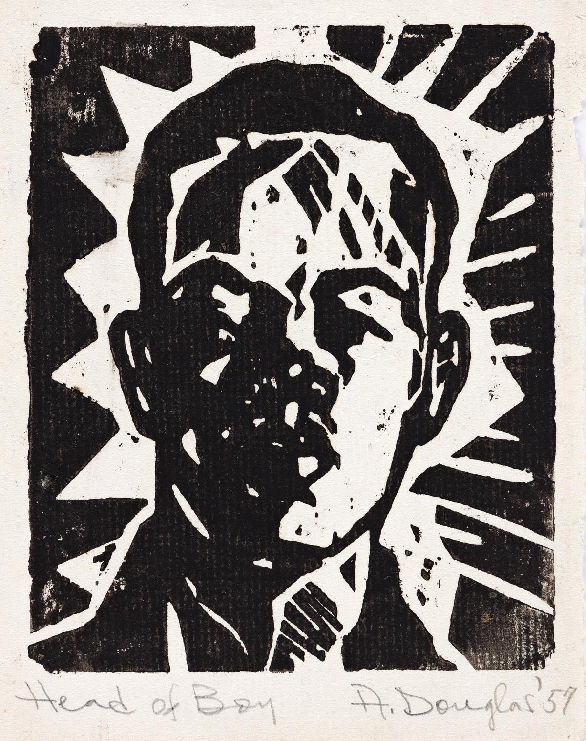 AARON DOUGLAS (1899 - 1979) Head of Boy (Portrait of Langston Hughes).