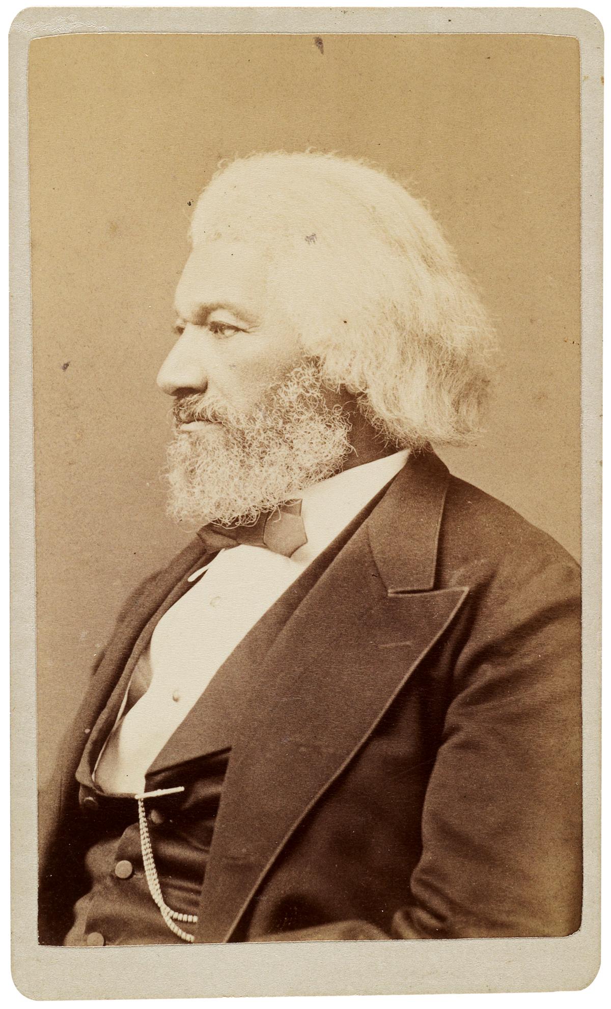 (DOUGLASS, FREDERICK.) Fassett, Samuel M.; photographer. Previously unknown carte-de-visite portrait of Douglass.