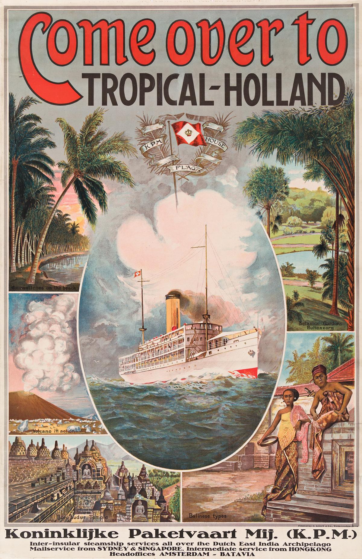 Designer Unknown.   COME OVER TO TROPICAL- HOLLAND / K.P.M.  Circa 1913.