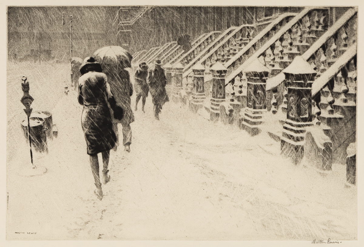 MARTIN LEWIS Stoops in Snow.