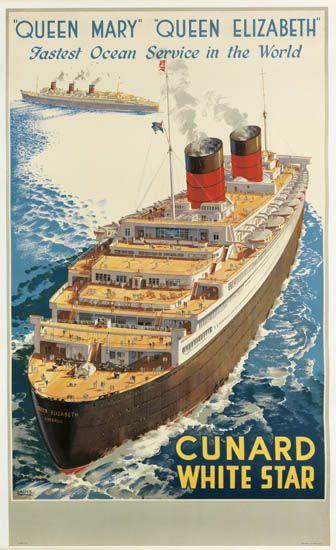 (CUNARD LINE.) The Queens. Queen Mary Queen Elizabeth Fastest Ocean Service in the World.