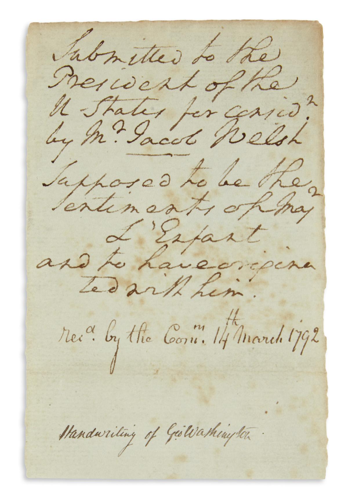 WASHINGTON-GEORGE-Autograph-Manuscript-unsigned-9-lines-like