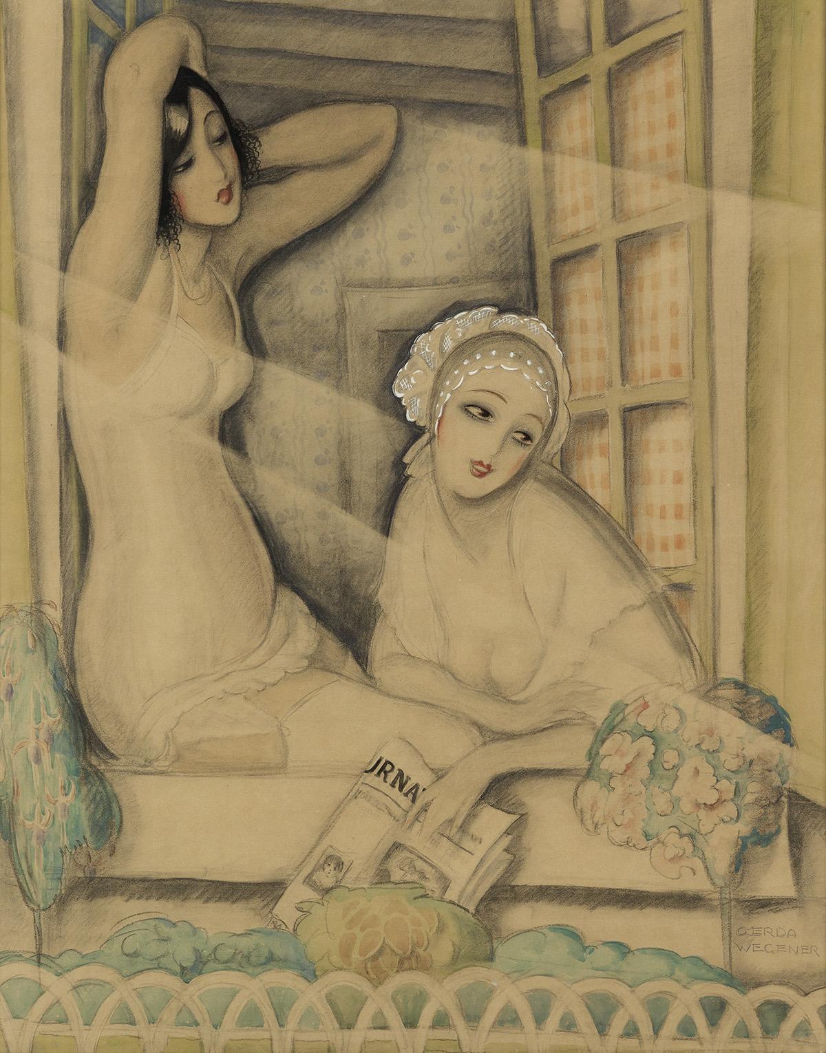 GERDA-WEGENER-(1886-1940)--Two-Women-in-a-Window
