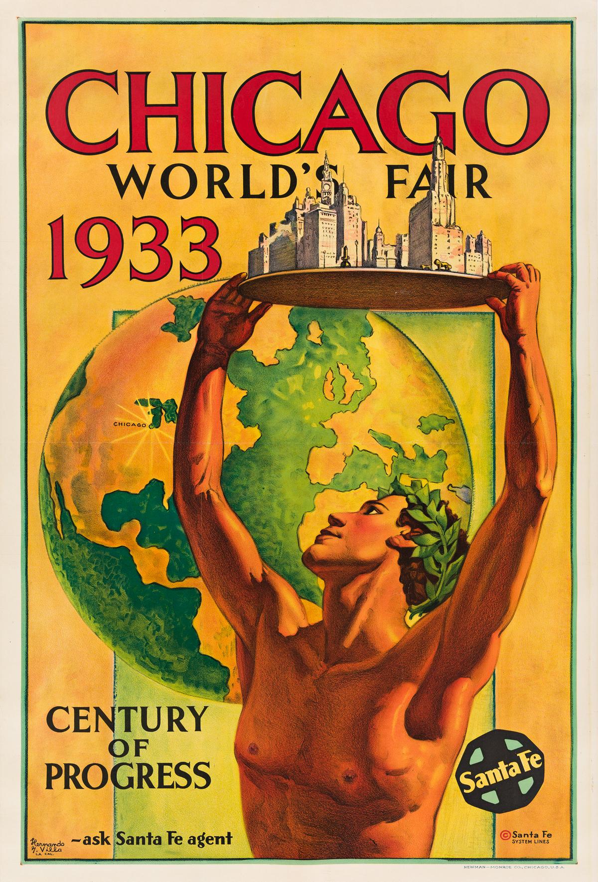 Hernando G. Villa (1881-1952).  CHICAGO WORLDS FAIR / CENTURY OF PROGRESS. 1933.