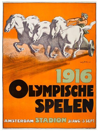 WILLY (JAN WILLEM) SLUITER (1873-1949). OLYMPISCHE SPELEN. 1916. 43x31 inches, 110x80 cm.