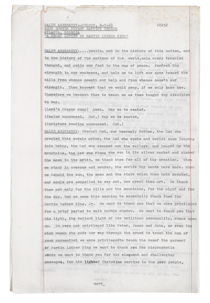 (CIVIL RIGHTS.) ABERNATHY, RALPH. Sermon:A Short Letter to Martin Luther King.