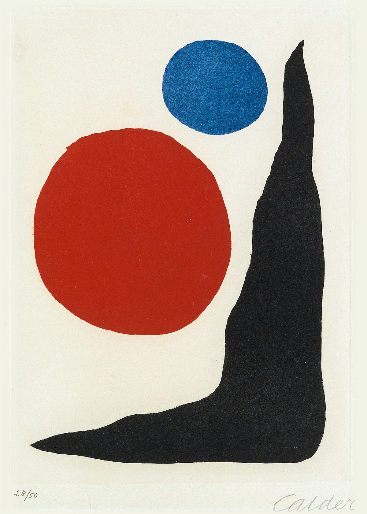 ALEXANDER CALDER Red and Blue Circles and Black Boomerang.