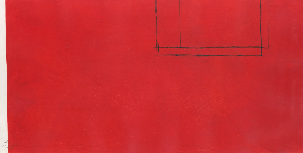 ROBERT MOTHERWELL Red Open with White Line.