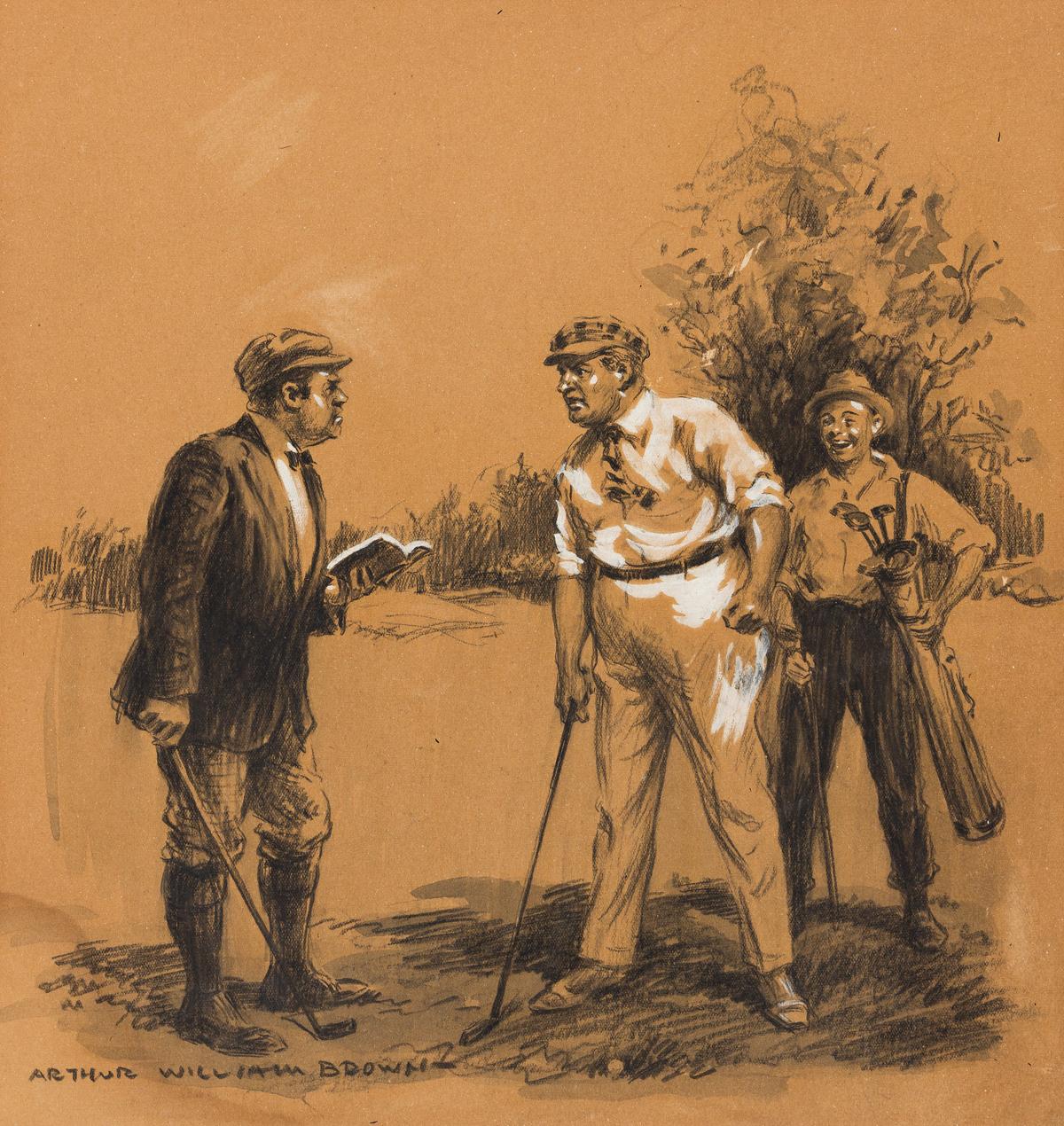 ARTHUR WILLIAM BROWN (1881-1966) Argument over Golf Rules. [GOLF]