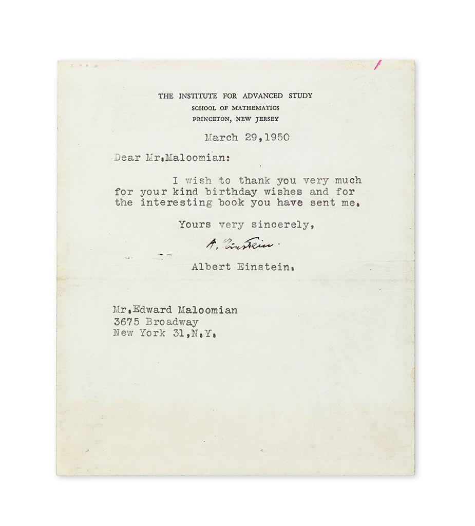 (SCIENTISTS.) EINSTEIN, ALBERT. Typed Letter Signed, A. Einstein, to Edward Maloomian,