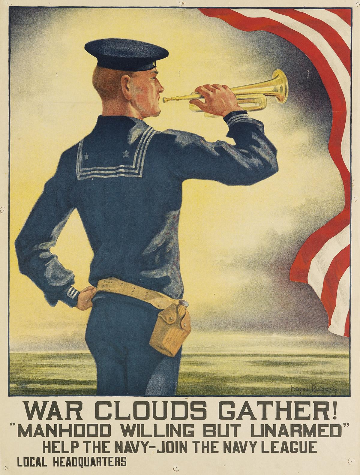 HAZEL-ROBERTS-(1883-1966)-WAR-CLOUDS-GATHER--MANHOOD-WILLING