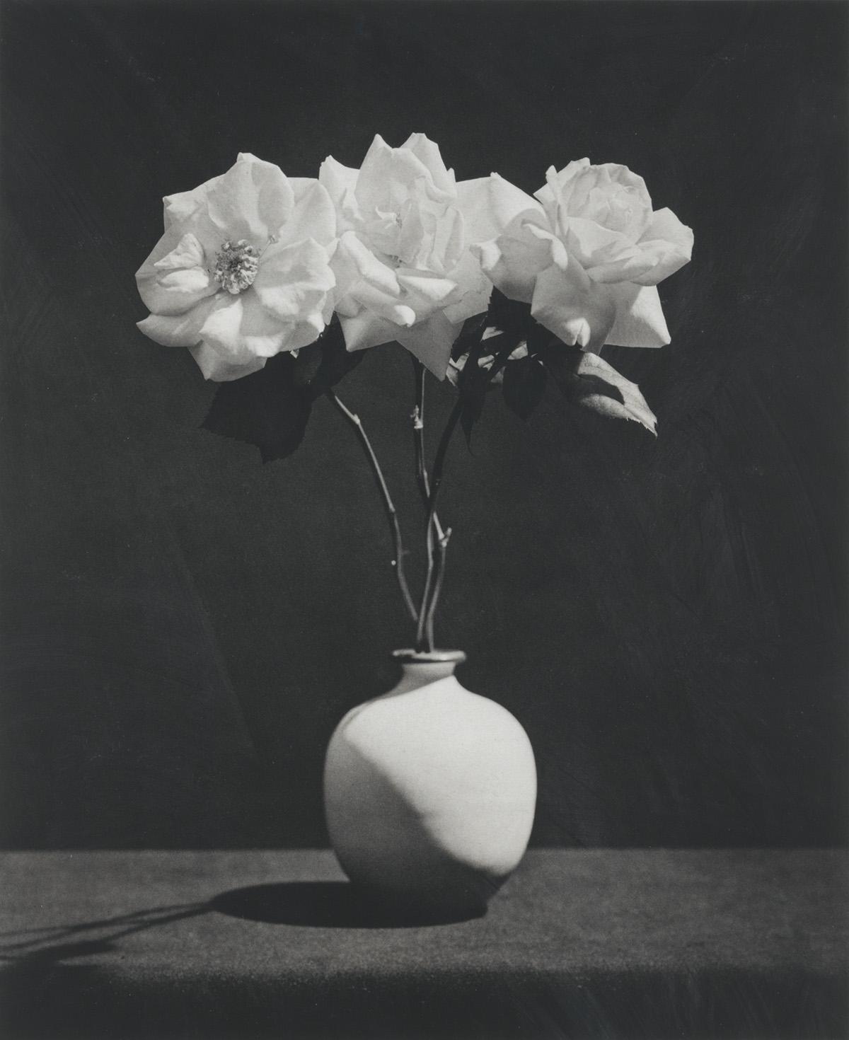 ROBERT MAPPLETHORPE (1946-1989) Three roses in a vase.