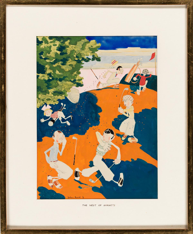 JOHN HELD, JR. (1889-1958) The Nest of Hornets. [CARTOONS / CALENDAR / GOLF]
