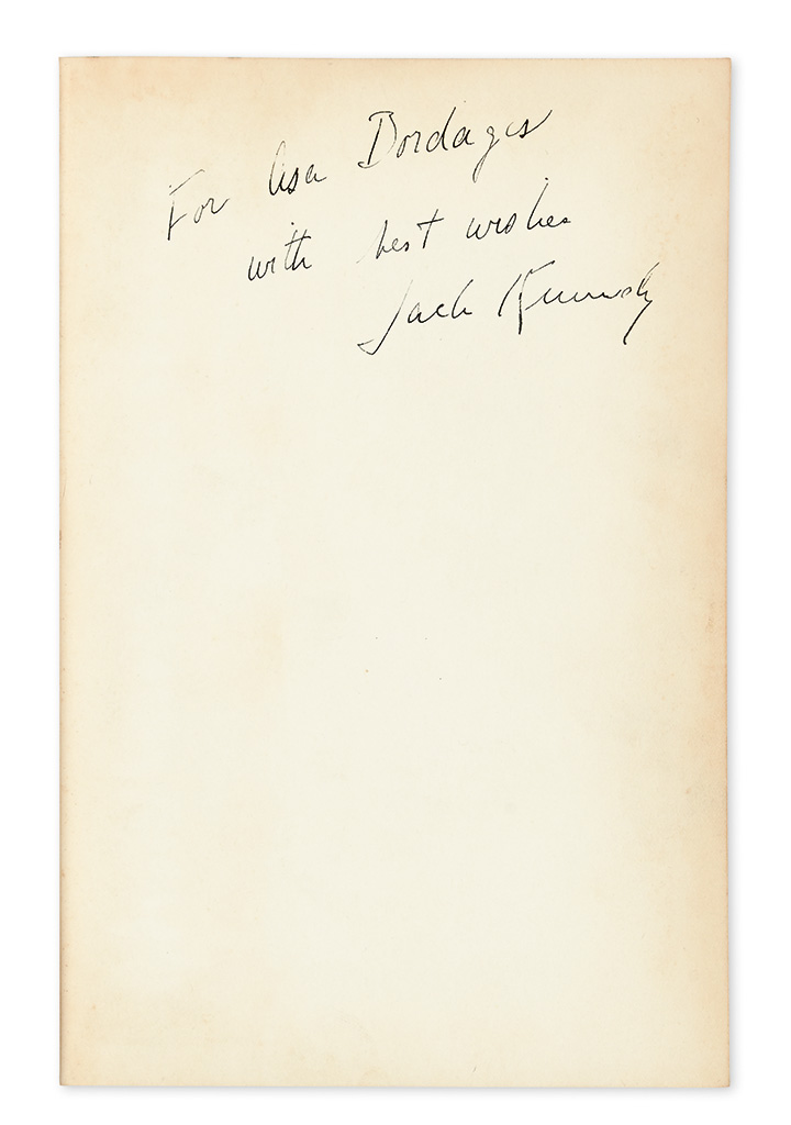 KENNEDY, JOHN F. Why England Slept, Signed and Inscribed, For Asa Bordages / with best wishes / Jack Kennedy,
