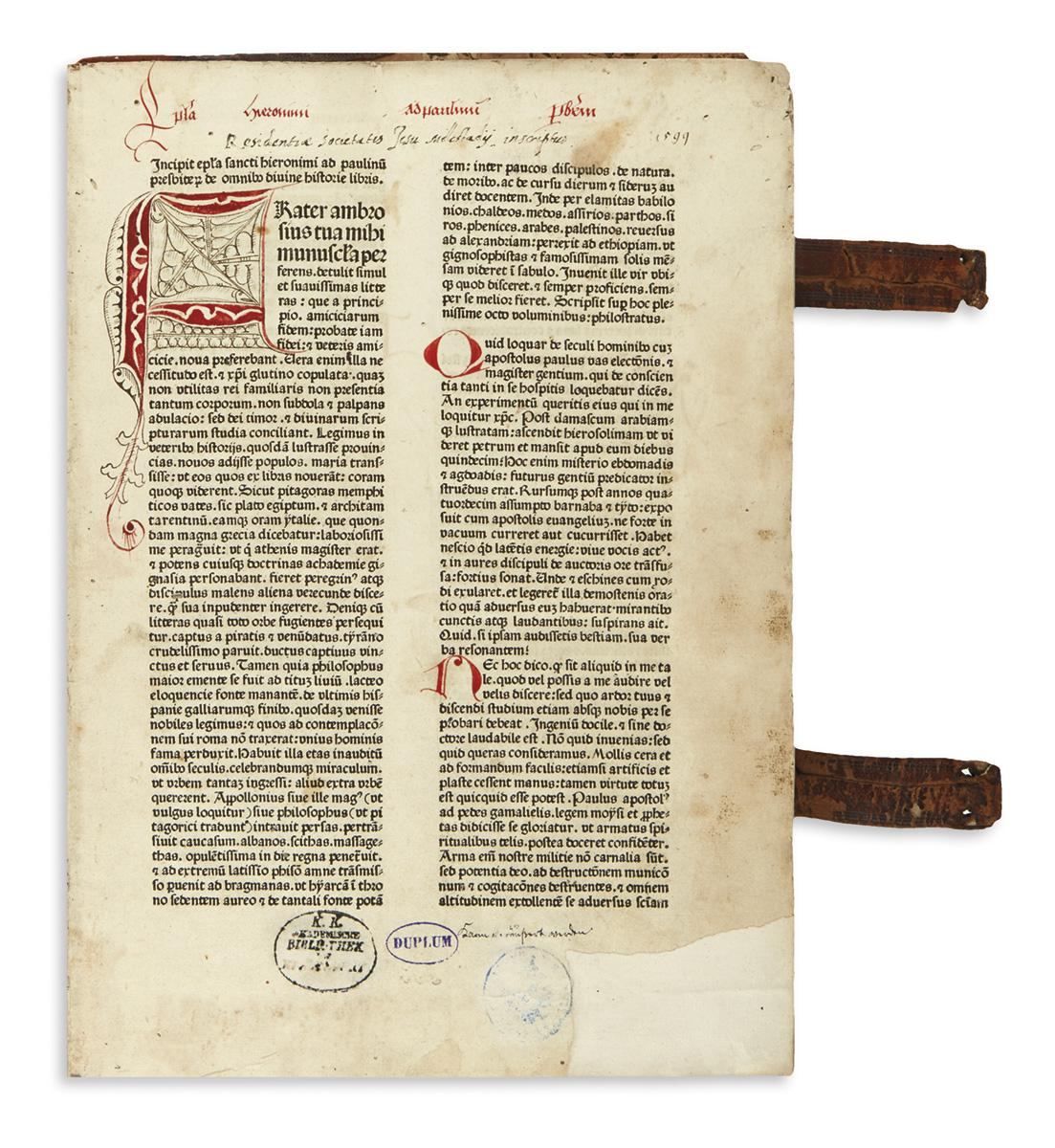 INCUNABULA  BIBLE IN LATIN.  [Biblia Latina.]  1477.  Lacks 19 leaves.