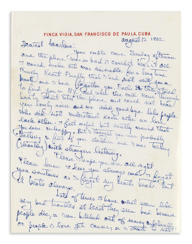 HEMINGWAY, ERNEST. Autograph Letter Signed, Love / Mr. Papa, to Dearest Marlene,